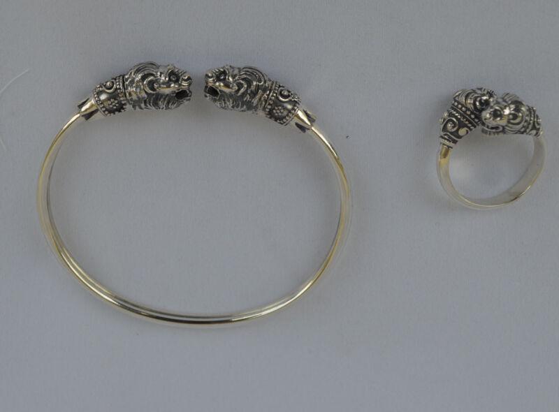 Lion Silver Set Bracelet Pendant Ring - Symbol of Strength