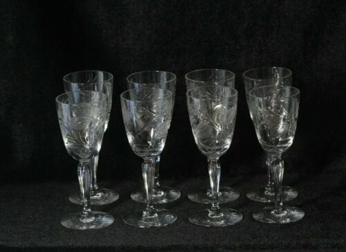 8 Antique Foliate Etched Crystal Stemware Sherry Glasses 6""