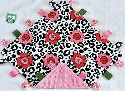 Double Minky! Cheetah Spot Flowers & Pink Minky Tag Taggie Security Blanket Baby