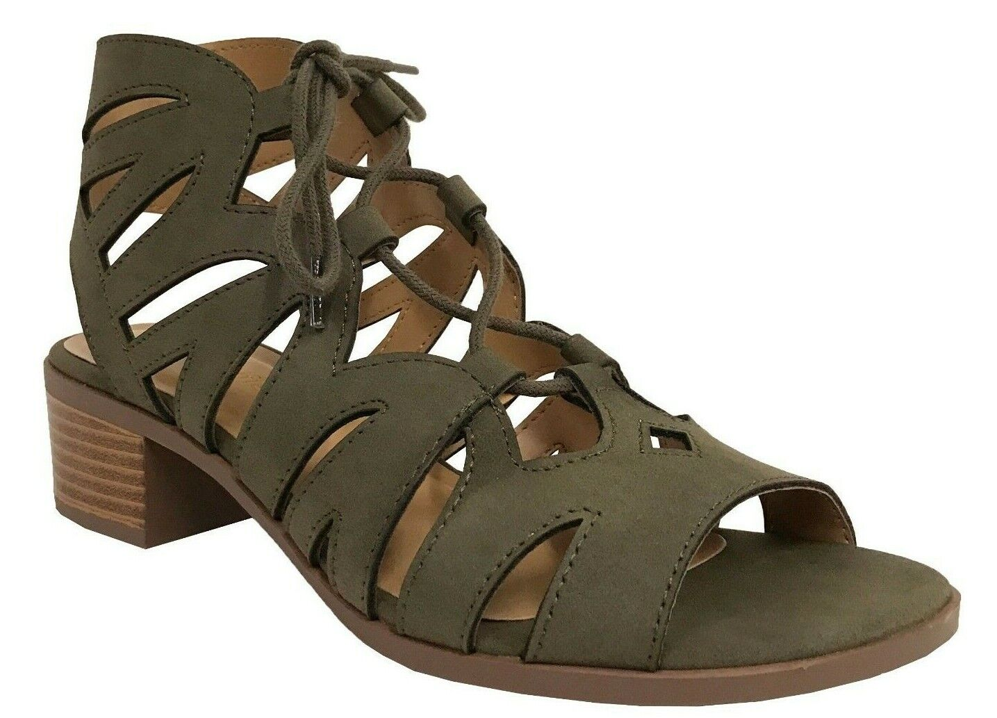 DALLES City Classified Women's Summer Cut Out Lace Up Block Heel Sandals