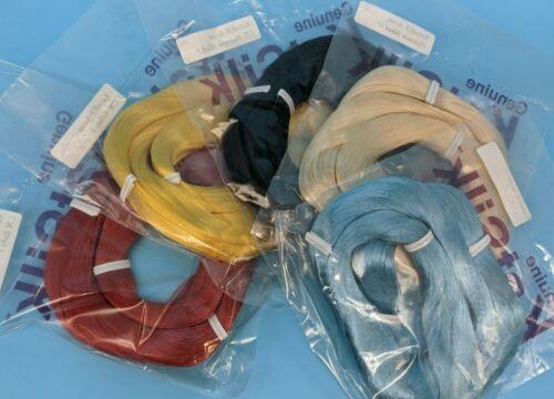 Saran Doll Hair for Reroot Lot of 5 Hanks KatSilk red yellow black blue blonde