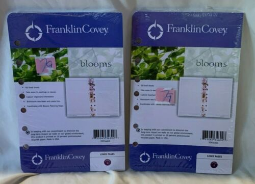 2 New 50 sheet Packages Franklin Covey BLOOMS Lined Pages Refills FDP34602