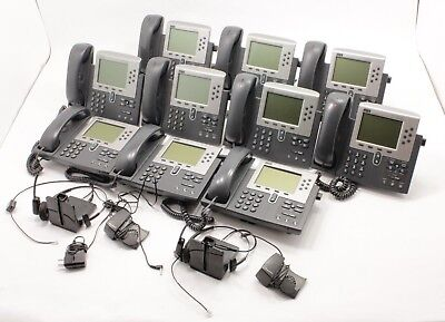 Lot Of 10 X Cisco 7960 Series Ip Phones With 2 Free Plantronics Headsets
