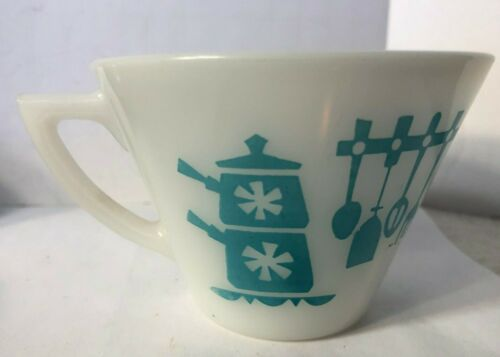 Vtg Hazel Atlas Turquoise Kitchen Aids White Milk Glass Cup 1950