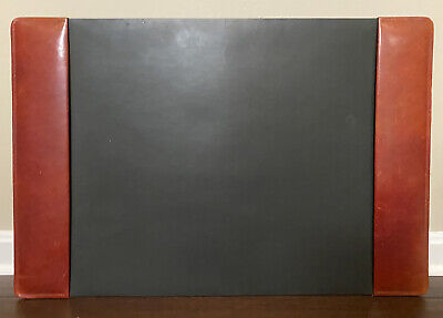 Bosca Correspondent Leather Desk Pad - Black Red 27x18 - Made In Usa