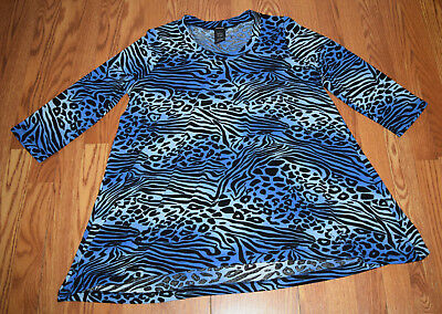 NWT Womens PREMISE Tunic Shirt Blue Animal Print Size M - Top Adult Anime