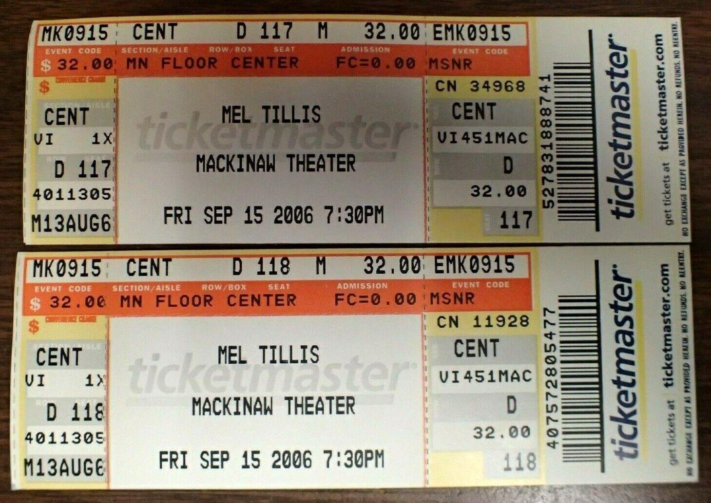 2006 Mel Tillis Unused 2 Full Concert Tickets Michigan Venue Mackinaw Theater