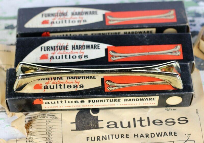 Mid Century Modern Drawer Pulls Brass Tone Faultless Hardware Set of 4 NOS