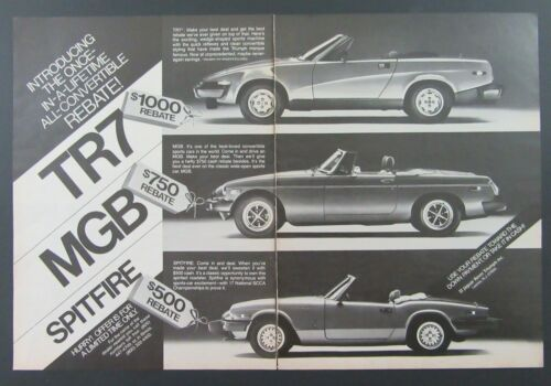 1980 Jaguar Rover Triumph TR7 SPIDER MGB SPITFIRE 2 Page Magazine Ad