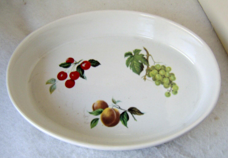fruit motif white casserole dish oven freezer