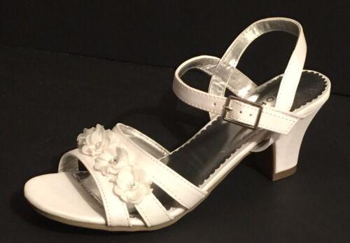 Girls Sz 5 Dress White Flower Sandals Wedding Formal Occasio