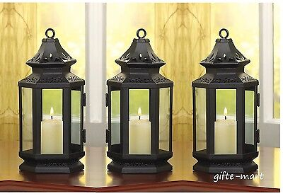 3 black colonial stagecoach country western Lantern Candle holder wedding table - Black Lanterns