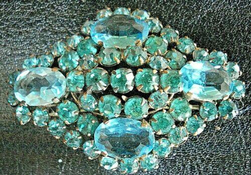 RARE Vintage STUNNING Antique CZECH GLASS RHINESTONE Tubular Clasp Brooch /Pin