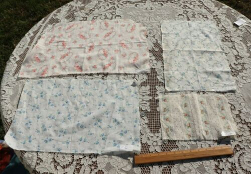 Lot Of 4 Antique Vintage c1900-1920 Cotton Pink & Blue Rose Fabrics~Dolls