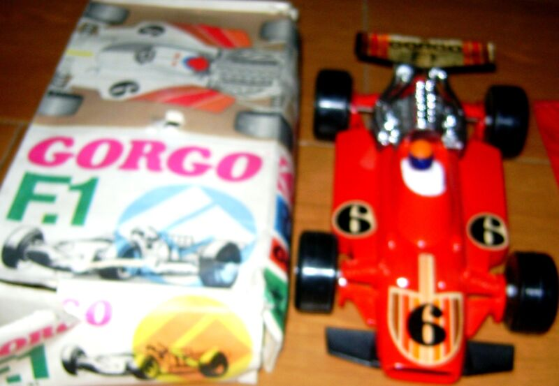 "VINTAGE FERRARI FORMULA 1 FRICTION PLASTIC RACE CAR 13"" by GORGO ARGENTINA 70's"