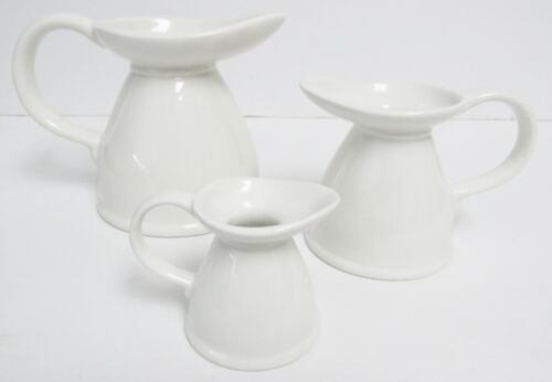 Vintage * Lord Nelson Pottery - England - set of 3 Pitchers/Creamers in White