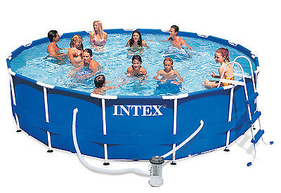 "Intex 15' x 42"" Metal Frame Swimming Pool Set with 1000 GPH GFCI Pump 