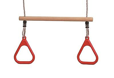 LoggyLand Holztrapez Trapez mit Turnringe Ringen Schaukel Kunststoffringe rot