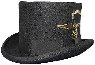 Herren Schwarz 100% Wolle 14cm Hochzeit Event Top Hat Mit Abnehmbar Feder