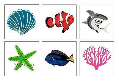 12 Coral Reef Ocean Sea Life Temporary Tattoos Kid Party Goody Bag Favor Supply
