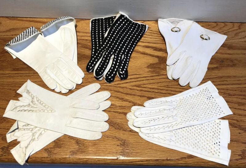 Lot 5 Vintage White Kidskin Driving Gloves Size 6 1/4 All Unique