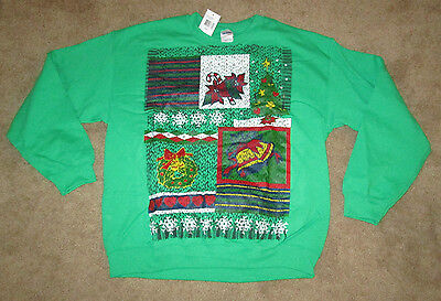 Green Christmas Sweatshirt Candy Canes, Bells, Wreath Adult Size L NEW!!!
