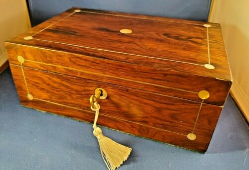 Antique English Rosewood Victorian Sewing Notions Box w MOP Inlay