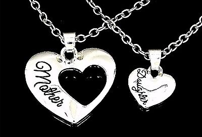 New Mother Daughter Hearts Charm Pendant Silver 17  Chain Necklaces Mom Love