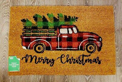 MERRY CHRISTMAS Red Plaid Truck Tree Farmhouse Door Mat Doormat Decor Coir New ()