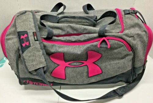LN Under Armour Pink Gray Athletic Gym Duffle Bag Training Travel Basketball