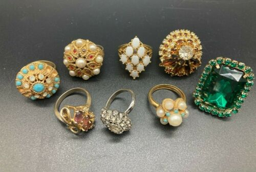 8 Vintage Cocktail Rings Opalite Faux Pearl Prong Set Gold Tone Collector