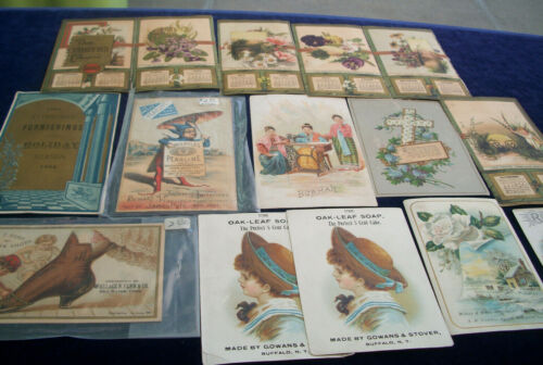 LOT OF 15 VICTORIAN TRADE CARDS ADVERTISING PEARLINE OAKLEAF SOAP SHOES MORE