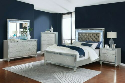 Modern 5-Piece Bedroom Set Queen Bed with LED Headboard & Mirror Metallic Silver