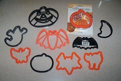 Halloween Cookie Cutters Wilton (Lot 10 New Halloween Cookie Cutters Wilton Comfort Grip Plastic Bats Pumpkin)