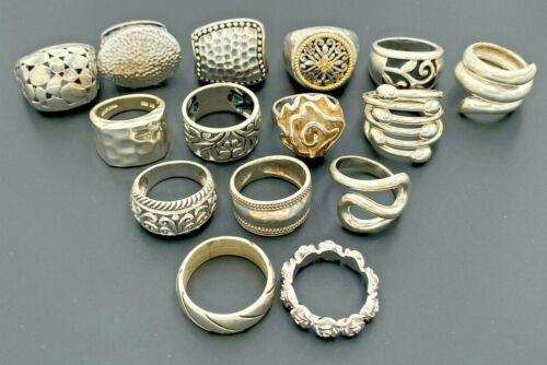 LOT STERLING SILVER 925 TEXTURED HAMMERED FILIGREE SCROLL STATEMENT BANDS RINGS