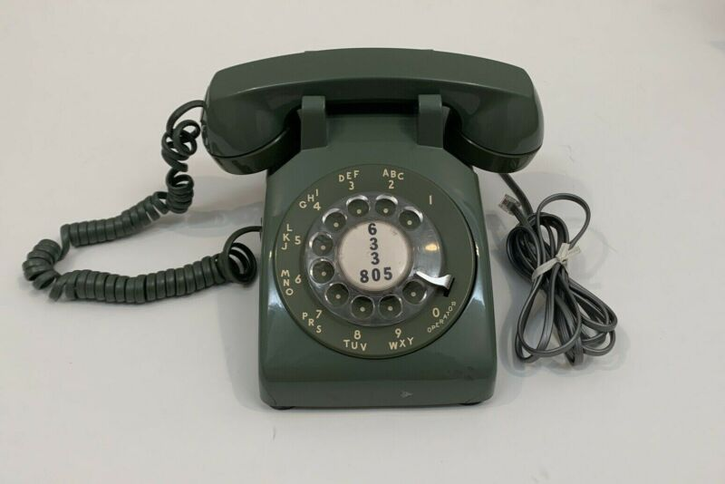 Vtg 60s 70s Avocado Green Bell System Western Electric Rotary Dial Phone WORKS!