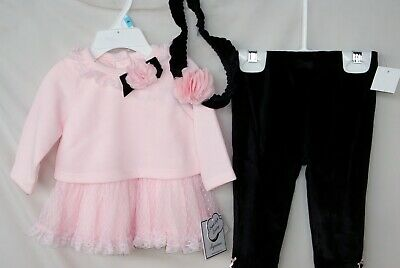 LITTLE ME 3 pc FAIRY SWEETNESS Pink Dress Set w/Black Velour Legging & HB NWT