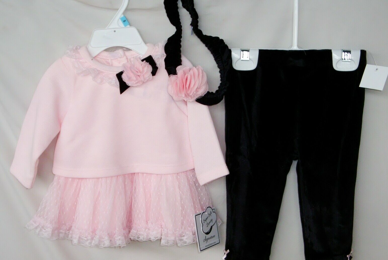LITTLE ME 3 pc FAIRY SWEETNESS Pink Dress Set w/Black Velour