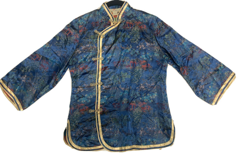 Vtg Solz Squirrel Satin Embroidered Chinese Jacket Floral Rare Blue Mandarin
