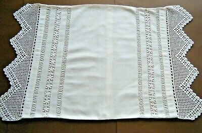 Old  Pillow case cottage  primitive bobbin lace &crochet lace trimming h made