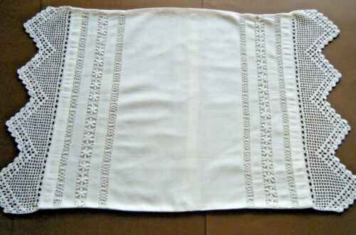 Old  Pillow case cottage  primitive bobbin lace &crochet lace trimming h made