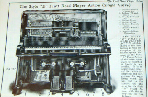 VINTAGE 1910s PRATT READ PLAYER ACTION MECHANISM & REGULATION MANUAL! PIANO!