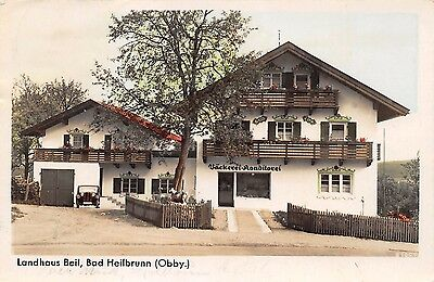AK Landhaus Beil Bäckerei Konditorei Auto Bad Heilbrunn Obby. Postkarte