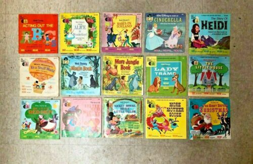 BR Lot of 25 Disneyland Record and Book 33 1/3 RPM Vinyl Kids See Hear Read VTG
