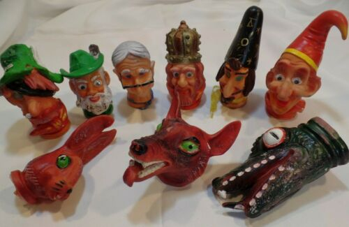 9 Vintage Fairy Tale Hand Puppets vinyl Rubber Heads King wizard Wolf Hobo