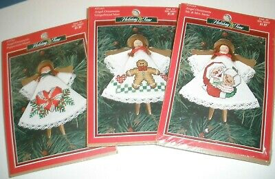 3 NIP Christmas Kits Counted Cross Stitch Clothespin Angels  ()
