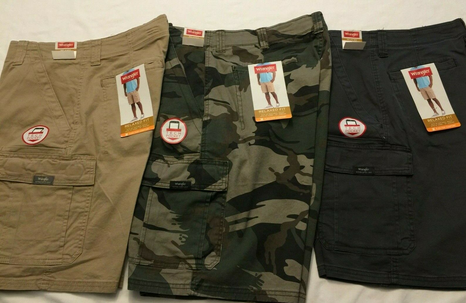 shopping on feet shots of official price NWT Wrangler Men's Cargo Shorts Beige, Green Camo, Gray Tech Pocket Relaxed  Flex