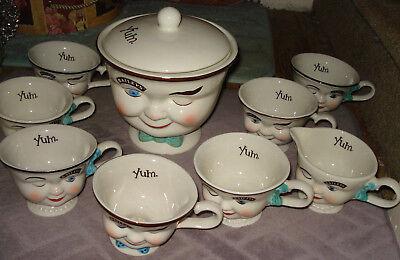VTG 9 PIECE BAILEY'S IRISH CREME COOKIE JAR CUPS CREAMER SET WINKING FACE CHINA