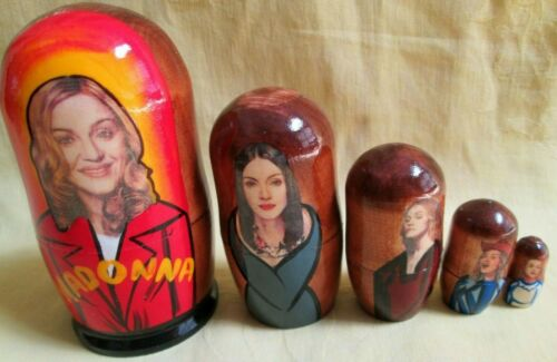 """Madonna Nesting Doll/Russia/5-pieces/ ~4.5"""" Set/Wood-Decal"""
