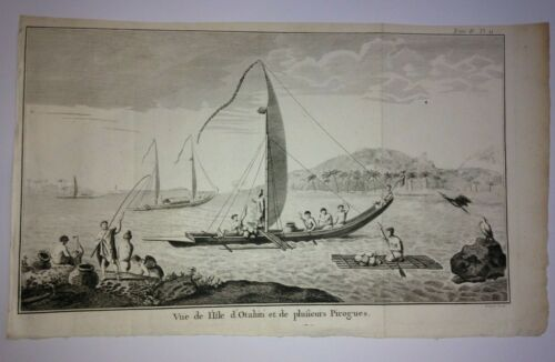 TAHITI 1785 SYDNEY PARKINSON LARGE ANTIQUE ENGRAVED VIEW 18TH CENTURY